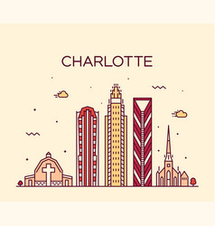 charlotte city skyline north carolina usa vector image