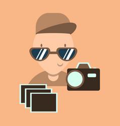 Child taking photo vector