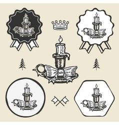 christmas candle vintage symbol emblem label vector image