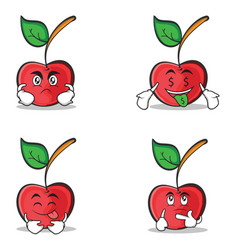 collection cherry character cartoon style set vector image vector image