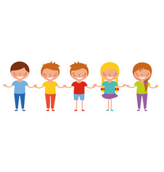 cute group kids holding hands vector image