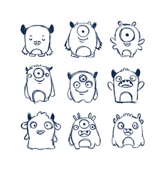 Cute monsters doodles vector