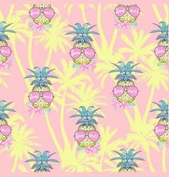 Cute seamless print with pineapples vector