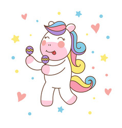 cute unicorn horse playing maracas good for print vector image