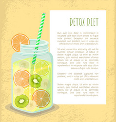 detox diet poster mug with refreshing drink vector image