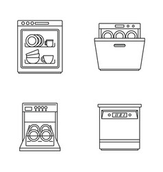 Dishwasher machine kitchen icons set outline style vector