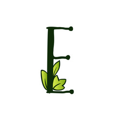 Doodling eco alphabet letter etype with leaves vector