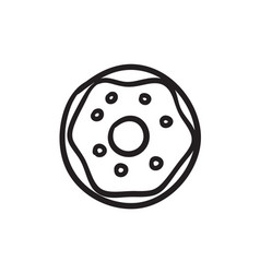 Doughnut sketch icon vector