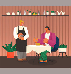 Eating out cafe or restaurant waiter takes order vector