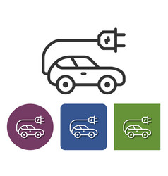 Electric car line icon in different variants vector