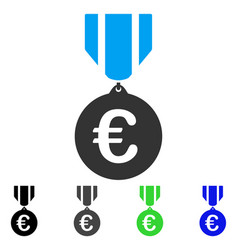 Euro honor medal flat icon vector