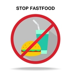 fastfood prohibitory sign vector image