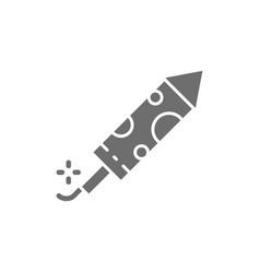 firecracker firework rocket grey icon isolated vector image
