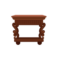 flat icon of brown vintage bedside table vector image