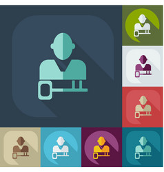 Flat icon people and a business key topic vector