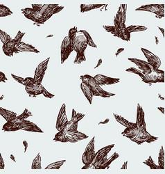 Flock fighting sparrows vector