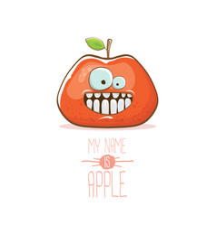 funny cartoon cute red apple character vector image