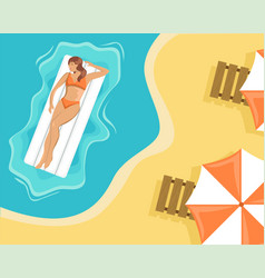 girl in a swimsuit floating on an air mattress vector image