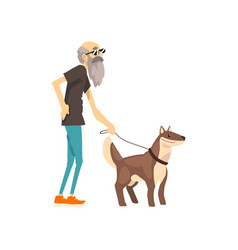 grandfather walking with his dog lonely senior vector image