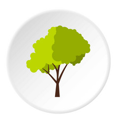 Green tree with fluffy crown icon circle vector