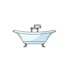 hand drawn clawfoot bathtub with faucet and douche vector image