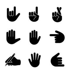 hand gesture emojis glyph icons set vector image