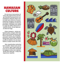 hawaiian culture tourism beach resort hawaii vector image