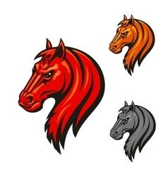 Horse head emblem with fierce black eyes vector image