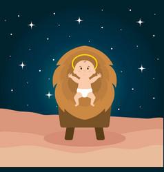 jesus baby in cradle of straw vector image