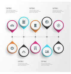 Journey outline icons set collection of tram vector