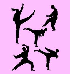 Karate martial art gesture silhouette 02 vector