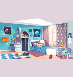 Kid boy modern room interior vector