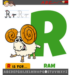 letter r worksheet with cartoon ram animal vector image