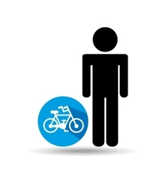 man silhouette bycicle icon design vector image
