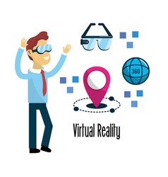 Man with virtual reality experience elements vector