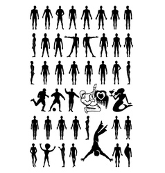 Man woman set silhouettes vector
