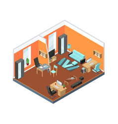modern office interior with comfortable workspaces vector image