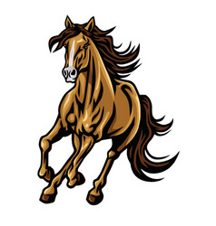 mustang horse running mascot logo cartoon vector image