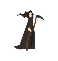 Person wearing in death costume masquerade vector