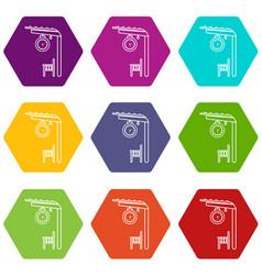 platform railway icons set 9 vector image