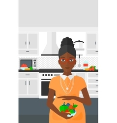 Pregnant woman with vegetables vector