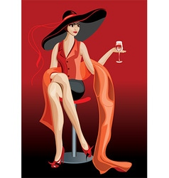 Pretty Woman Drinking a Glass of Wine vector