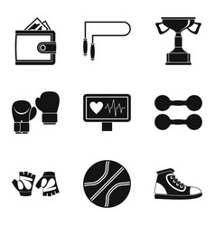 pugilism icons set simple style vector image