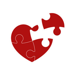 red puzzle heart vector image