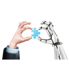 Robot business man hands with puzzle vector