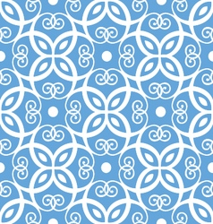 Seamless blue and white damask pattern vector