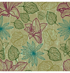 seamless floral pattern with herbarium vector image