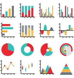 set business data graph diagram vector image
