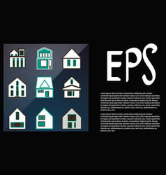 set icons house building in flat style vector image