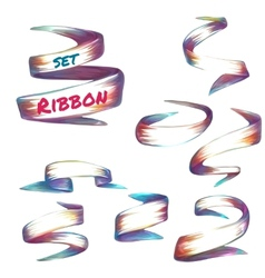 set of colored robbons on transparent vector image
